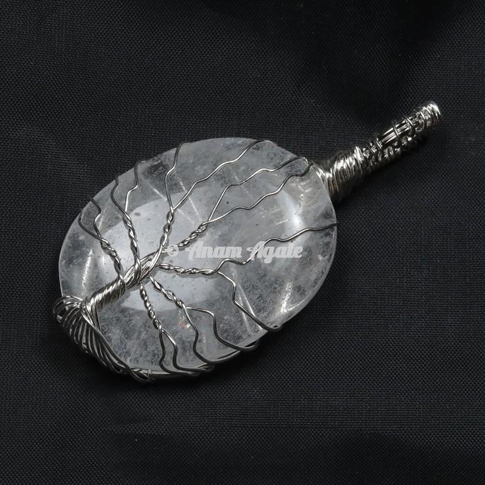 Crystal Quartz Tree of Life Wrap Pendant
