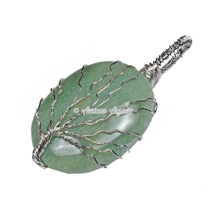 Green Aventurine Tree of Life Wrap Pendant