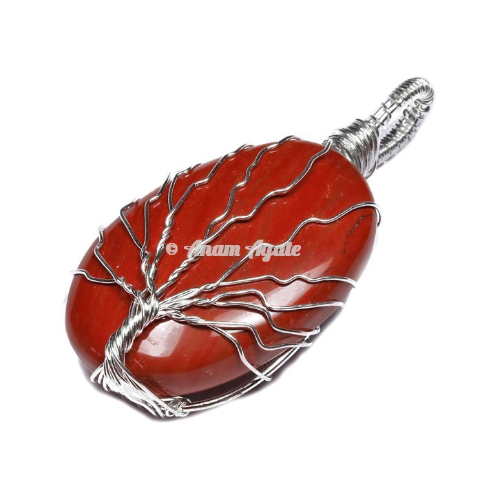 Red Jasper Tree of Life Wrap Pendant