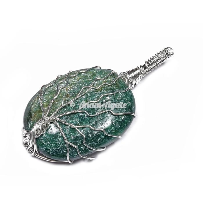 Green Jade Tree of Life Wrap Pendant