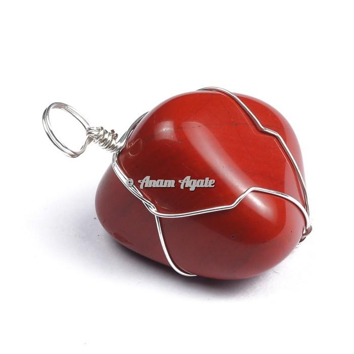 Red Jasper Wire Wrap Tumbled Pendant