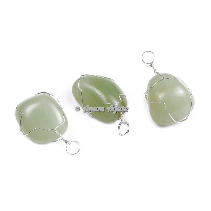 Green Aventurine Wire Wrap Tumbled Pendants
