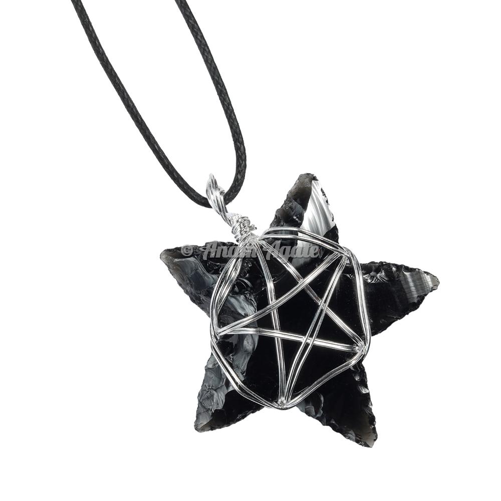 Black Obsidian Star Pentagram Wire Wrapped Healing Pendant