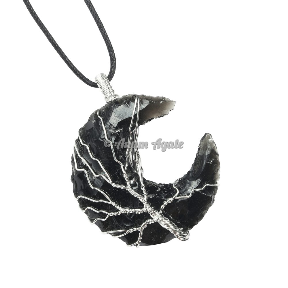 Black Obsidian Moon Tree Of Life Wire Wrapped Healing Pendant