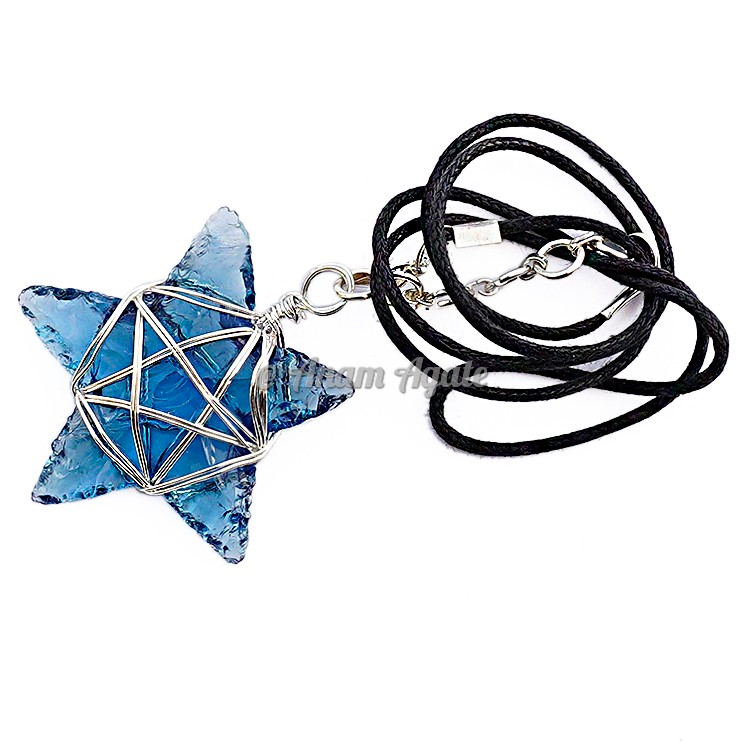 Blue Glass Star Pentagram Wire Wrapped Healing Pendant