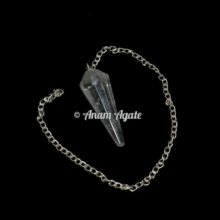 Crystal Quartz 12 faceted Pendulums