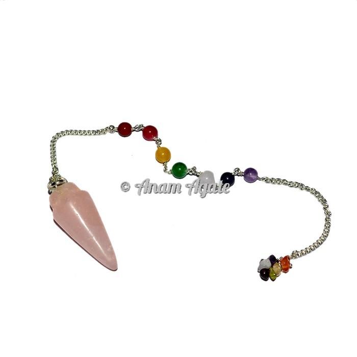 Rose Quartz Bullet Chakra Pendulums
