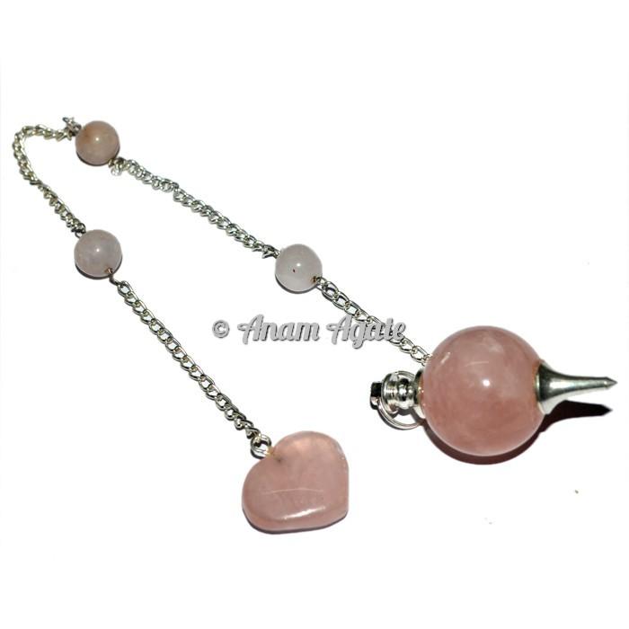 Rose Quartz Teardrop Pendulums