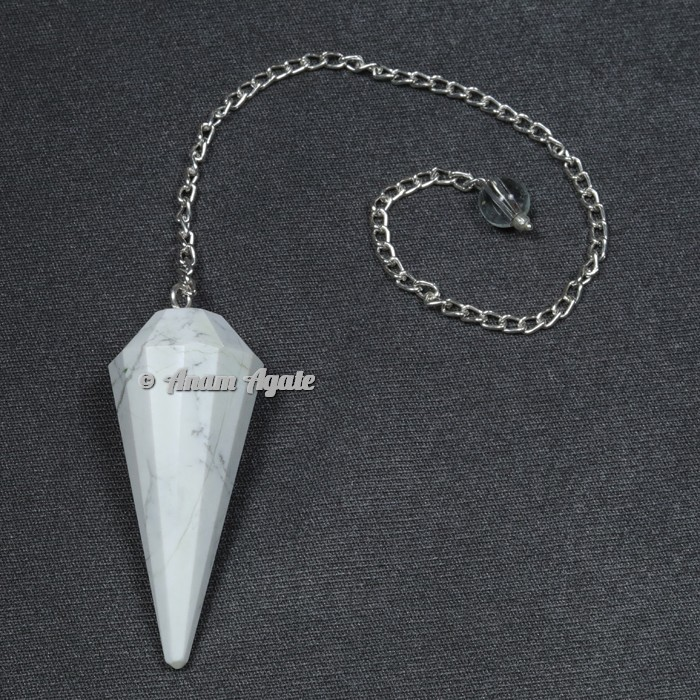 Howlite 12 Faceted Pendulum