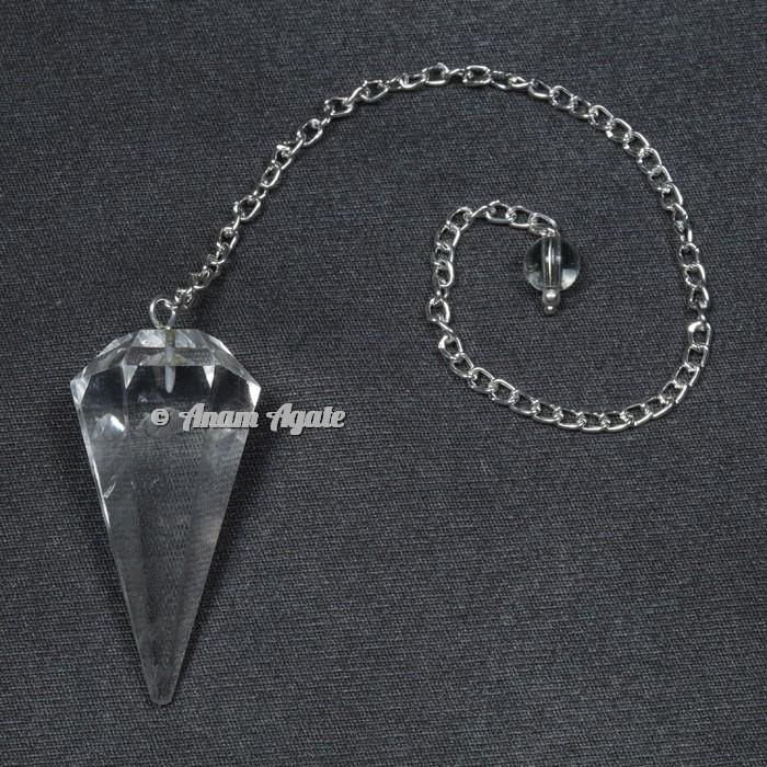 Clear Quartz 12 Faceted Pendulums