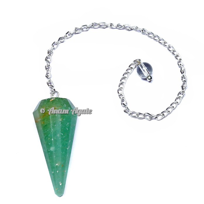 Green Aventurine 12 Faceted Pendulums