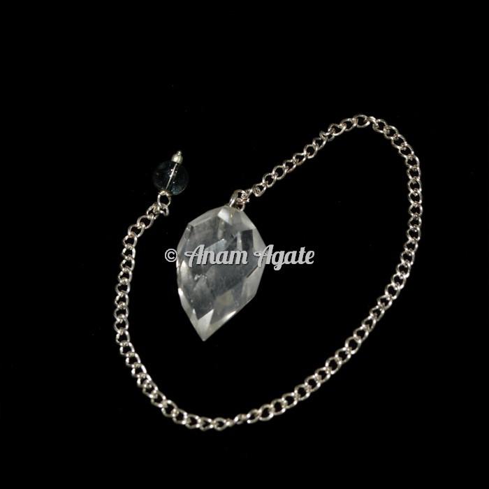 Crystal Quartz Faceted Drop Pendulums