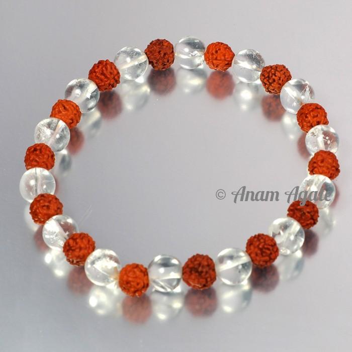 Crystal Quartz with Rudraksha Bracelets