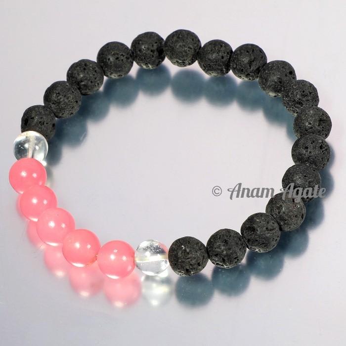 Rose Quartz with Lava Bracelets