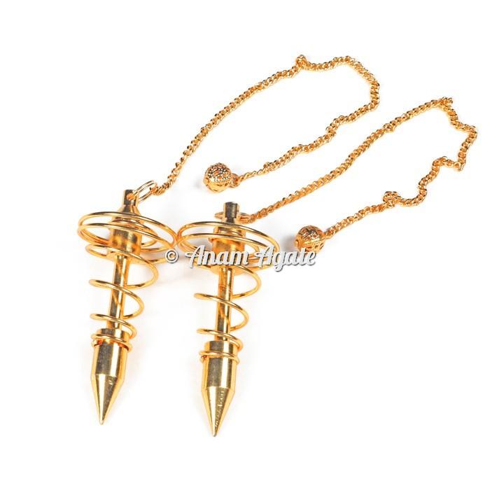 Big Golden Spiral Metal Pendulums