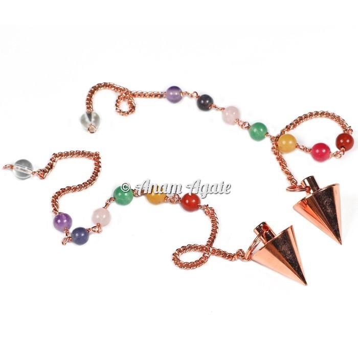 Copper Small Cone Chakra Metal Pendulums