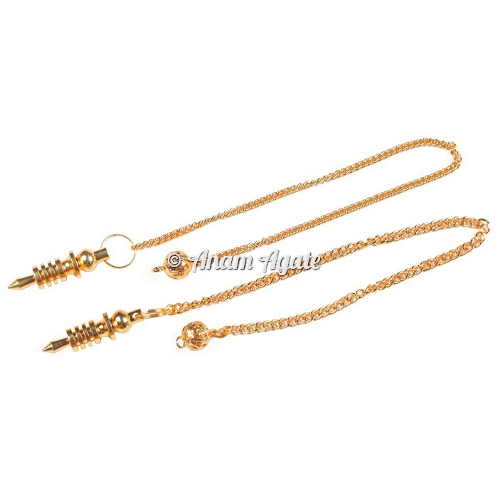 3 Plated Golden Brass Isis Pendulums