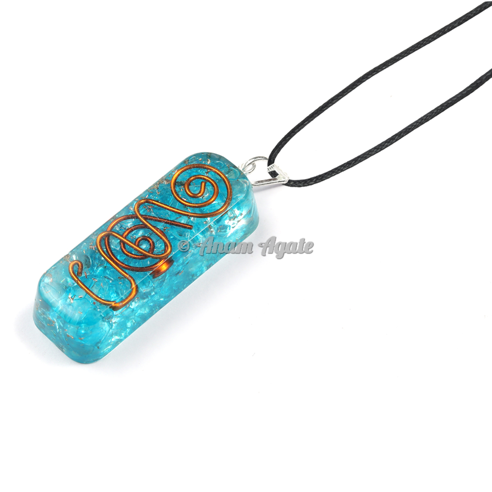 Aqua Rectangle Shape Orgonite Pendant EMF Protection