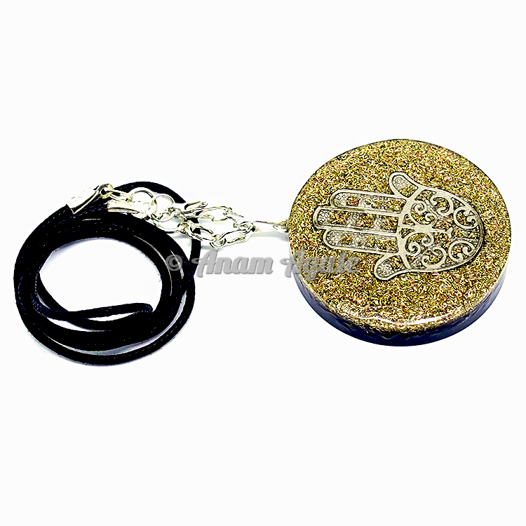 Gold Dust with Hamsa Orgonite Pendant EMF Protection