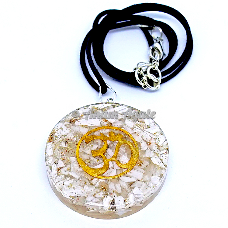 Selenite and Howlite with OM Orgonite Pendant EMF Protection