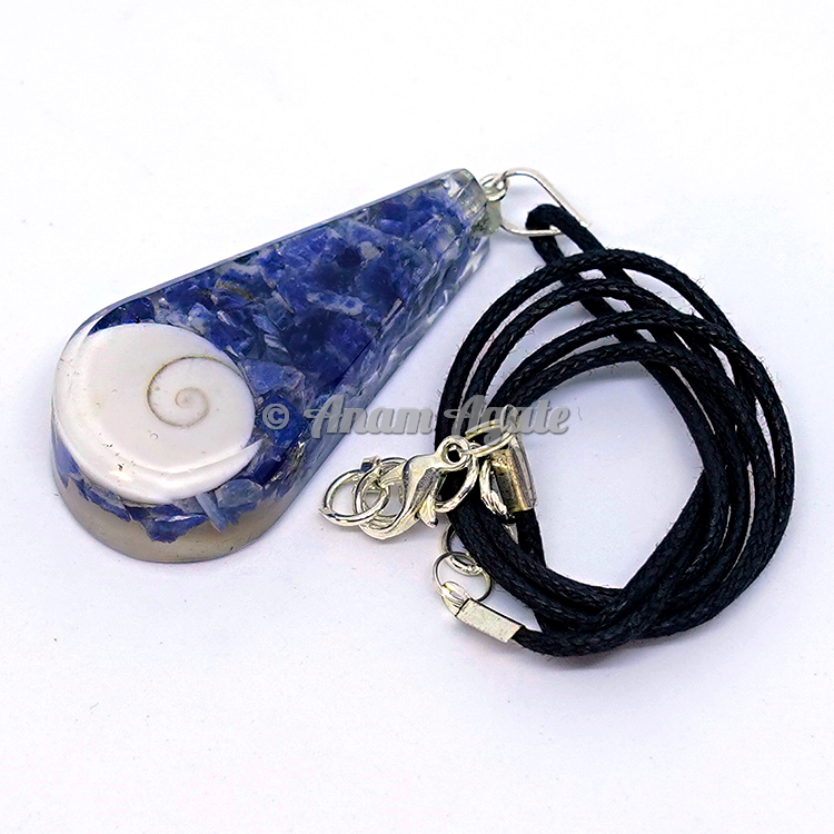 Lapis Lazuli with Shell Orgonite Drop Pendant EMF Protection