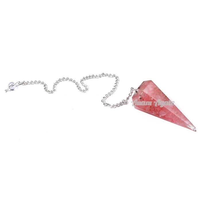 Rose Quartz 6 Faceted Orgone Pendulum