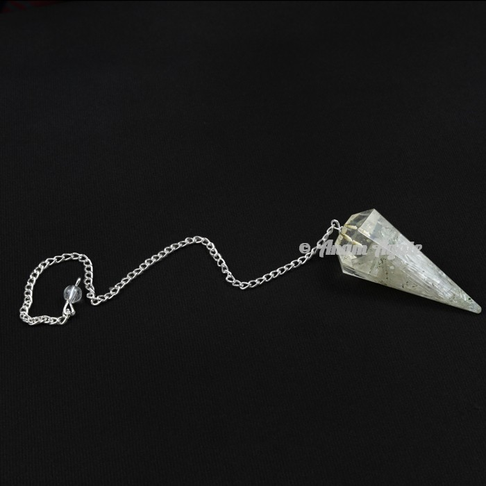 Crystal Quartz 6 Faceted Orgone Pendulum