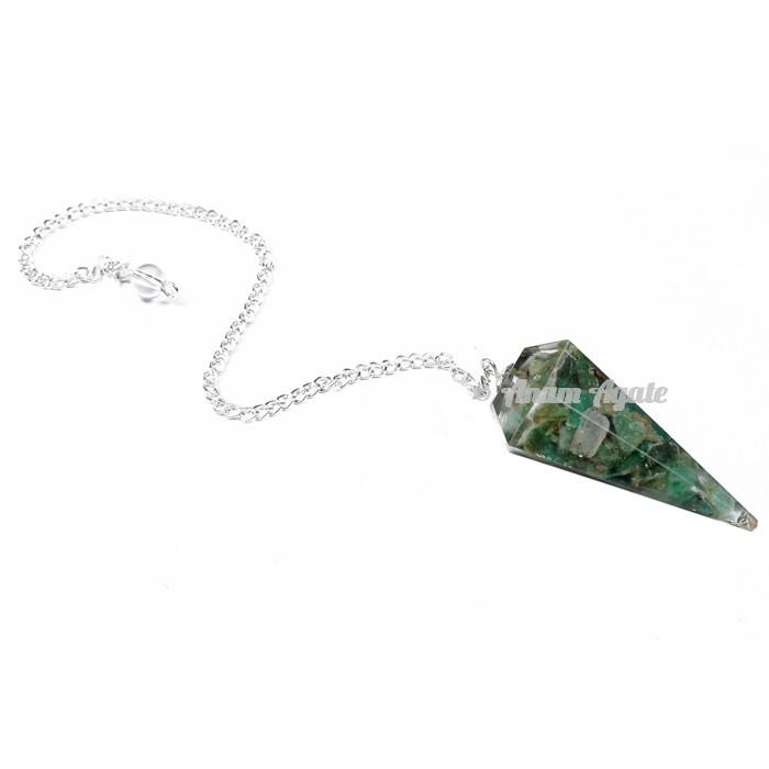 Green aventurine 6 Faceted Orgone Pendulum