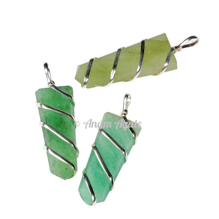 Green Aventurine Flat Pencil Wrap Pendants