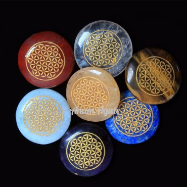 Flower of life 7 Chakra Stone Set