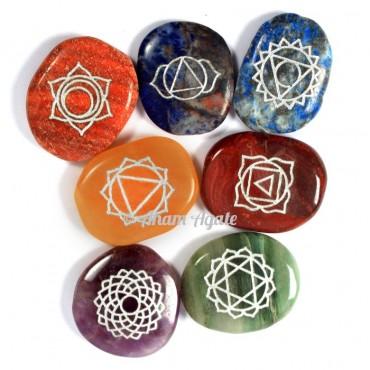 Chakra Stones Engraved Set