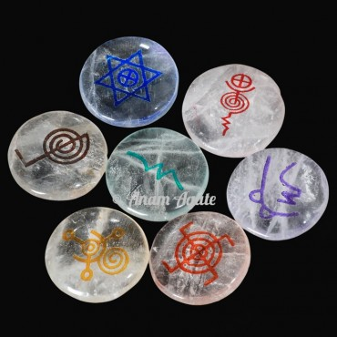Crystal Quartz 7 Chakra Disc Set