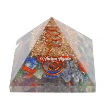 Seven Chakra Chips Orgonite Pyramid
