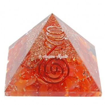 Carnelian With Crystal Pencil Orgonite Pyramid