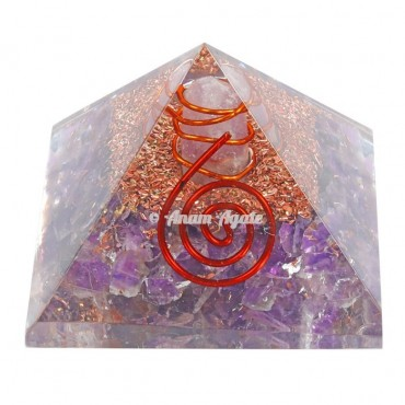 Amethyst Orgonite Pyramid With Natural Point