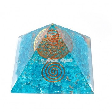 Aquamarine With Flower Of Life Orgonite Pyramid