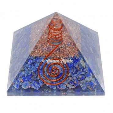 Lapis Lazuli With Natural Point Orgonite Pyramid