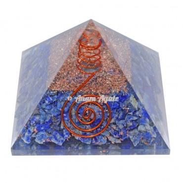 Lapis Lazuli With Natural Point Orgonite Pyramid