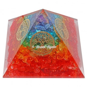 7 Chakra Orgonite Pyramid 4 Side Tree Of Life Symbol Orgonite Pyramid