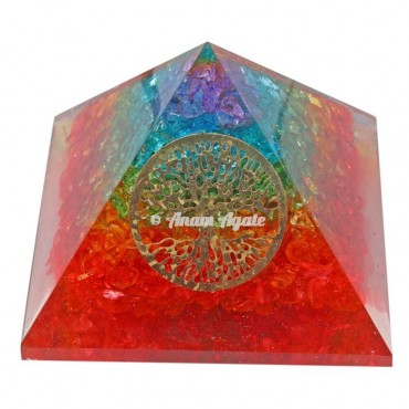 Chakra Orgonite Tree Of Life Pyramid