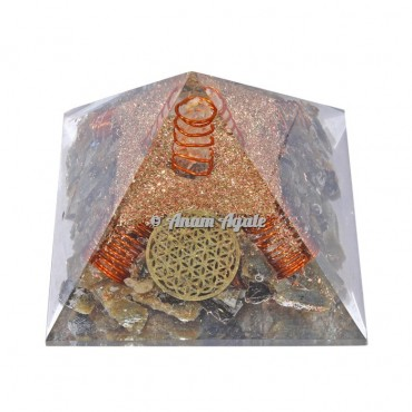 Labrodrite With Flower Of Life Orgonite Pyramid
