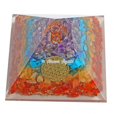 7 Chakra Layer With Flower Of Life Symbol  Orgonite Pyramid