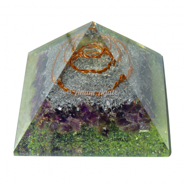 Amethyst and Peridot Orgonite Pyramid