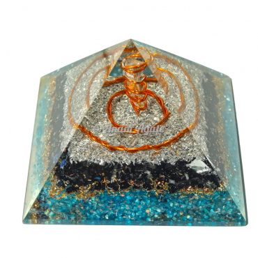 Black Tourmaline and Apatite Orgonite Pyramid
