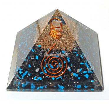 Turquoise And Tourmaline Orgonite Pyramid