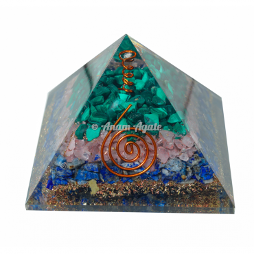 Malachite, Rose, Lapiz Lazuli Orgonite Pyramid