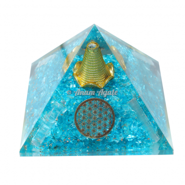 Flower Of Life Aquamarine Orgonite Pyramid