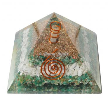 Green Aventurine, Howlite Orgonite Pyramid