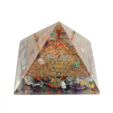 Mix Srone Chips Orgonite Pyramid
