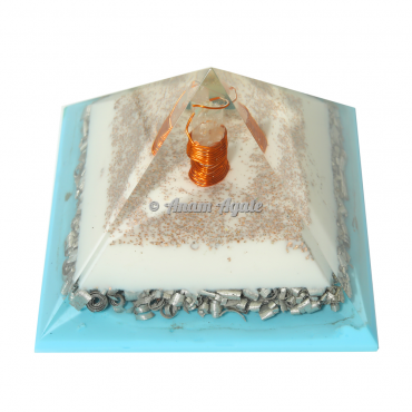 Blue and White Flame Orgonite Pyramid